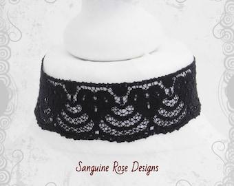 Plain Gothic Black Wide Choker - Crochet Lace - Gothic Black Statement Choker Necklace - Sanguine Rose Designs