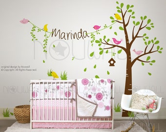 Children Wall Sticker Tree Wall Decals - Birdie Tree with Custom Name on string