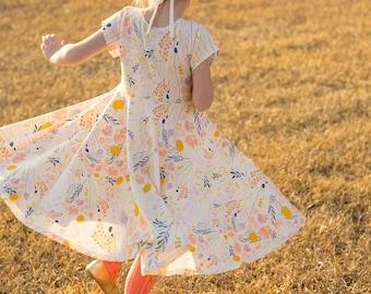 Wild Flower Easter Dress Spring Dress Twirly Easter Dress Toddler Dress Girl Dress Summer Dress Twirl Dress Short Sleeve Twirly Knit Dress