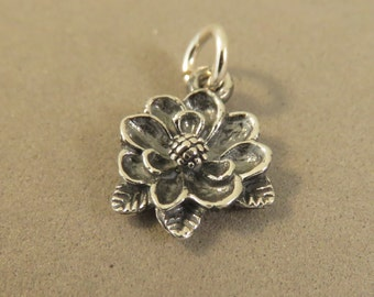 Sterling Silver 3-D MAGNOLIA FLOWER Charm Pendant Tree Blossom Garden Waterlily Mississippi Spring .925 Sterling Silver New ga56