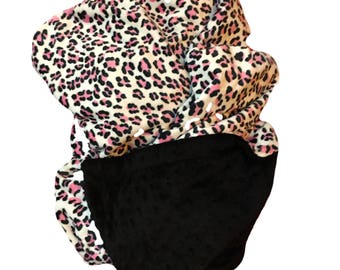 Adult Minky Blanket, Pink Leopard, Animal Print Blanket, Safari Blanket, Throw Blanket, Dorm Room Blanket, Adult Throw 50 x 60 in