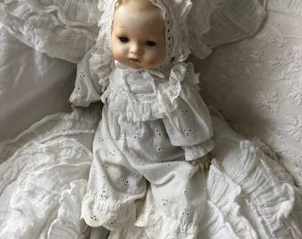 Antique * baby doll * China head doll * Armand Marseille style 341/4*Künstlerpuppe*CoeursDeCaschel*Spitze*Brocante*19.Jhdt.*Doll*Edwardian