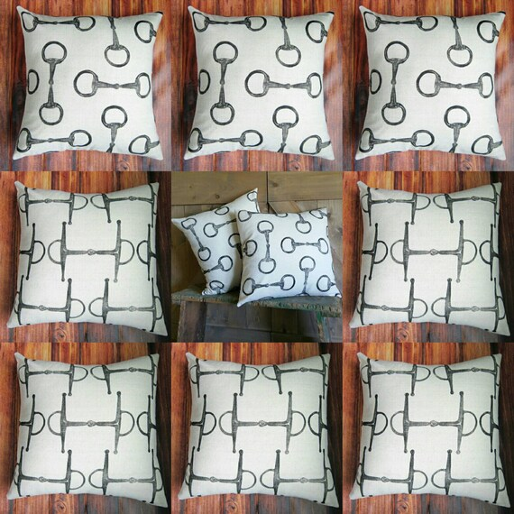 "QUANTITY DISCOUNT- Lot of 10 Equestrian Pillow Covers 18"" x 18""- Cotton Equestrian Pillow Covers"