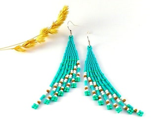 Turquoise earrings Turquoise Gift|For|Teen Girl gifts Turquoise jewelry  Fairy earrings Fairy wings Aquamarine earrings beaded