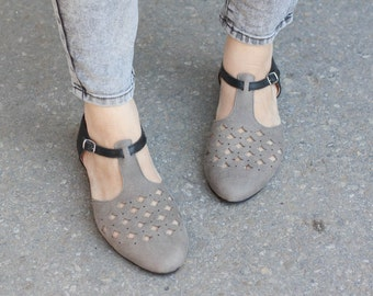 Grey Leather Sandals, Leather Flats, Grey Cutout leather Sandals, Summer Shoes , Free Shipping