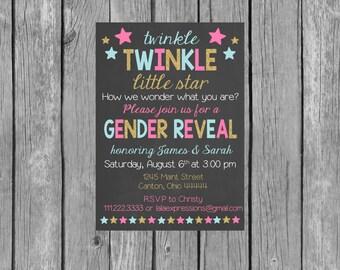 Twinkle Twinkle Little Star Gender Reveal Party Invitation - Gender Reveal Invitation
