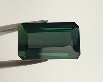 3.55 ct, Tourmaline, Green Tourmaline, Loose Gemstone, Faceted, Size 12x7mm Octagon Cut, Natural Tourmaline, Brazilian Tourmaline