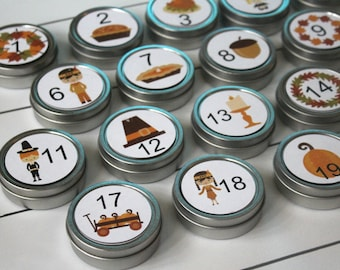 Reusable Magnetic Thanksgiving Advent Tins / Turkey and Pilgrims / Fall Count Down Calendar / 20 Days of Gratitude / Advent Calendar