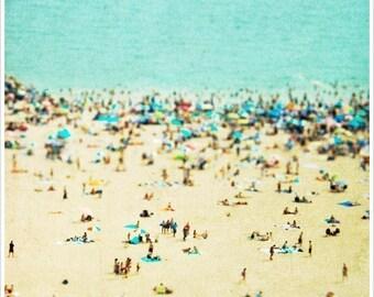Coney Island Beach Fine Art Print // Brooklyn Beach Photography // Turquoise Beach Photography for a modern home // Beach People CI Beach