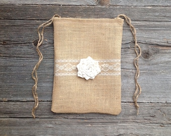 Dollar Dance Bag - Money Bag - Wedding Bag - Wedding Dance Bag - Rustic Wedding - Burlap Bag - Ivory Wedding - Burlap Lace Bag - Ivory Bag