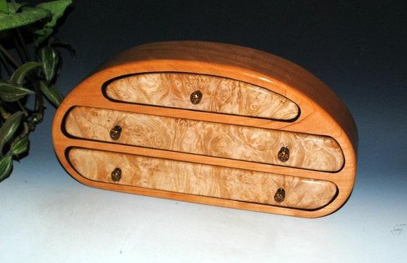 Handmade Wooden Jewelry Box -  Wood Jewelry Box- Maple Burl on Cherry-Jewelry Box, Small Jewelry Box, Jewelry Boxes, Wood Gift Box-Burl Wood