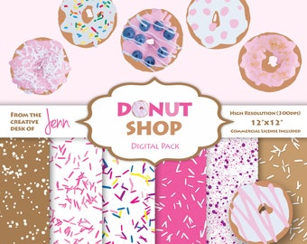 Donut Shop Clipart and Digital Paper Pack | Realistic Doughnuts and Sprinkle Patterns | Commercial Use