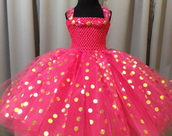 Fuchsia with gold & silver polka dot princess dress, bright pink tutu dress, birthday gift for her, tutu dress for girls, princess dress