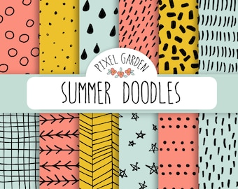 Mint Doodle Digital Papers. Hand Drawn Coral and Mint Patterns. Hand Drawn Chevron, Polka Dot, Stripes, Triangles in Seafoam and Coral.