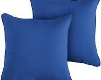 Sunbrella pillow cover.Sunbrella Canvas True blue. outdoor or indoor fabric. Throw pillow accent pillow. Patio pillow cover. Sofa pillow.