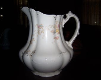 Vintage Alfred Meakin Royal Semi Porcelain Pitcher Floral Design
