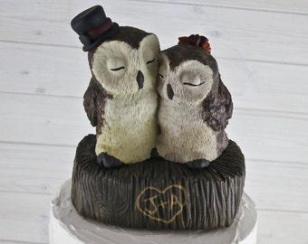 Barn Owl Love on a Stump Custom Wedding Cake Topper