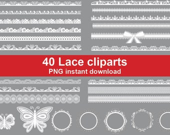 40x Lace Borders white Clipart. Wedding Clipart - printable  Digital Clipart Graphic Instant Download (No. 76)