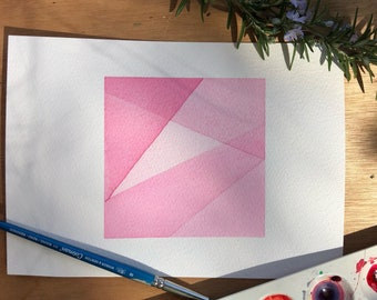 Original watercolour painting - Kunzite abstract geometric watercolor painting - Home and living - Home decor - Modern abstract art