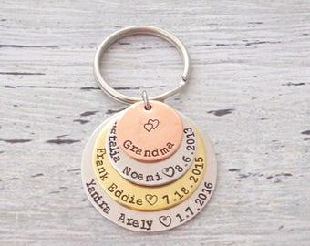 Mom Keychain, Grandma Keychain, Personalized Mom Keychain, Custom Mom Keychain, Personalized Grandma Keychain, Mom Gift, Grandma Gift