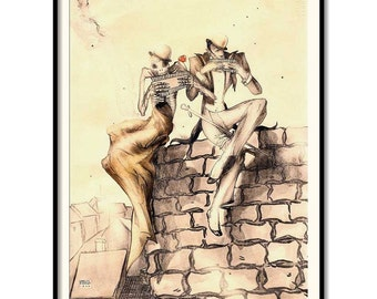 "Vintage art, Fine Art illustration,  ""Dissonance"", Vintage print 8""x11"""