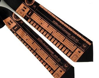 """808 drum machine necktie. Vintage synthesizer silk tie. """"deTR-808"""" men's tie. Detroit Techno, electronic music, house music, hip hop gift."""