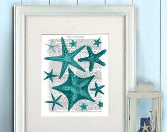Nautical bathroom - Green Starfish Print - Bathroom wall decor Starfish beach Starfish print art Ocean decor Beach house decor Canvas art
