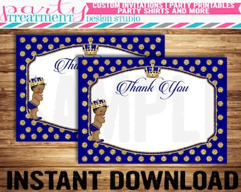Royal Prince Baby Shower Thank You Card Instant Download, sold AS-IS, No personalization, Design #184