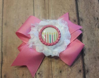 Birthday candles boutique hair bow.