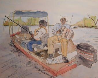 Unframed Watercolor Painting of Boozoo & Leona Chavis Fishing on the Bayou, 12 x 16