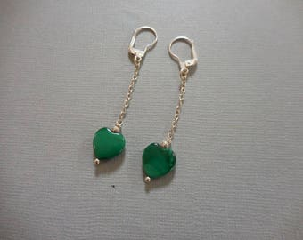 Malachite heart 10 mm silver chain earrings