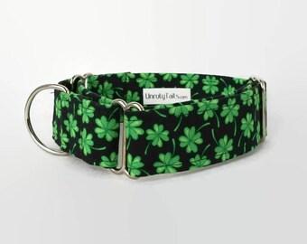 Shamrock Dog Collar - Martingale Collar or Side Release Buckle Collar - Lucky 4 Leaf Clovers - Irish - St. Patty's Day Collar