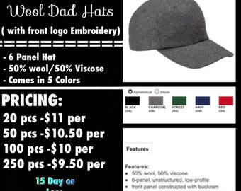 Big Accessories Wool Dad hats ( with front logo Embroidered )
