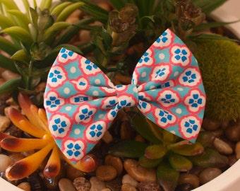 Blue Moroccan Bows - Fabric Hair Bows - Ladies Girls Toddler Hair Bows - Mini Bows Everyday Bows Big Bows