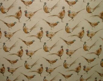 Pheasants Vintage Linen Look Animal Print Designs Curtain Upholstery Fabric
