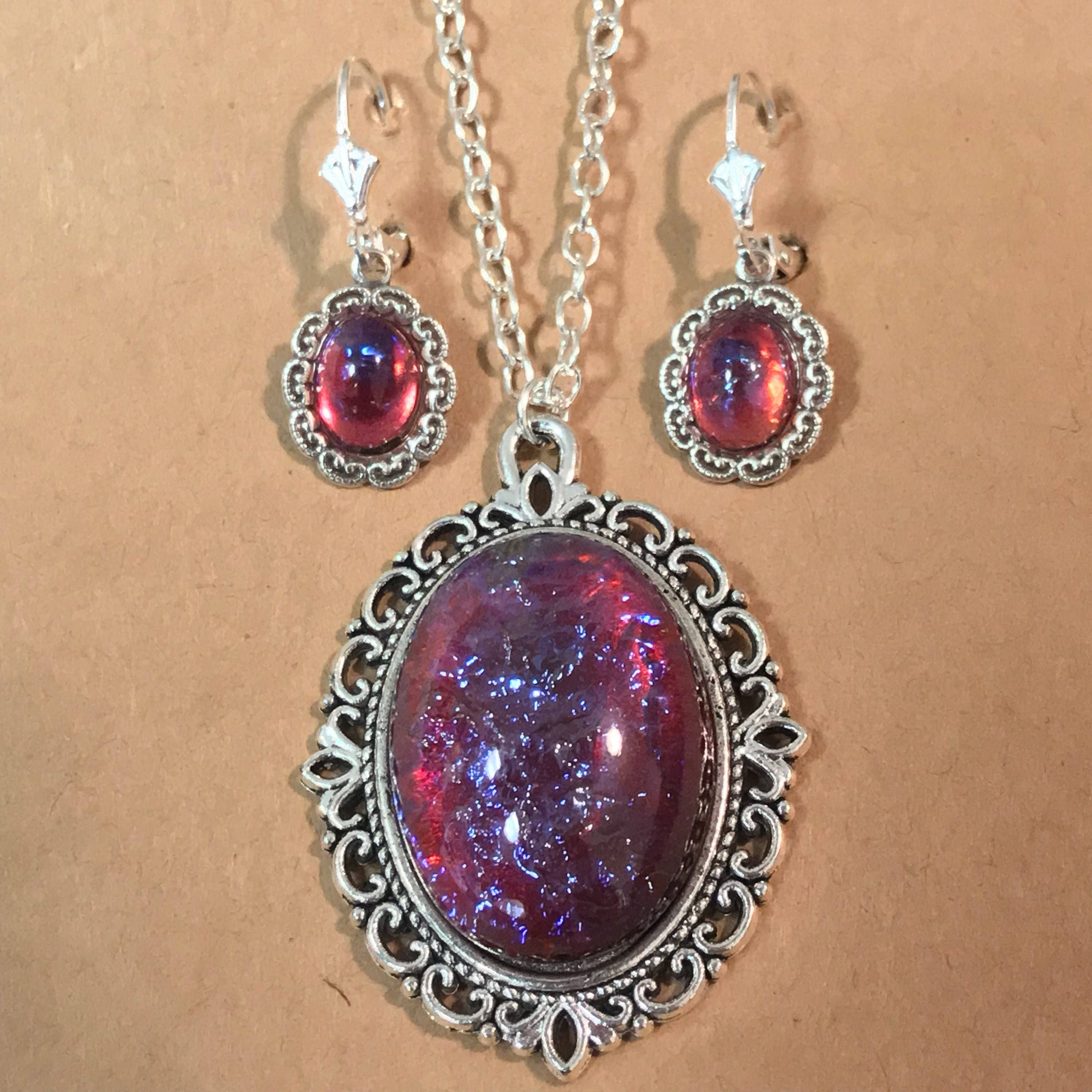 Large opal necklacemexican fire opalglass pendantopal earrings large opal necklacemexican fire opalglass pendantopal earringsred and blue silver necklace aloadofball Choice Image