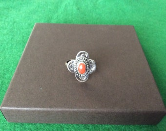 Vintage Native American coral ring