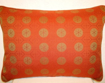 Modern Contemporary Pillow with a Maharam Orange Circle Graphic