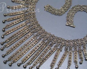 MASSIVE Tribal Bib Necklace . Etruscan style Fringe Silver jewelry