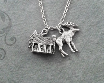 Cabin Necklace VERY SMALL Silver Cabin Charm Necklace Cabin Jewelry Hunting Gift Camping Gift Moose Necklace Moose Jewelry Hunting Necklace