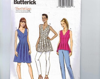 Misses Sewing Pattern Butterick B6025 6025 Misses Tunic Top or Dress with Released Pleats Size 8 10 12 14 16 or 16 18 20 22 24 UNCUT