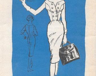 """Vintage 1950s Prominent Designer Oleg Cassini Mail Order Pattern A749 - Misses' Dress size 12 bust 32"""" uncut FF"""