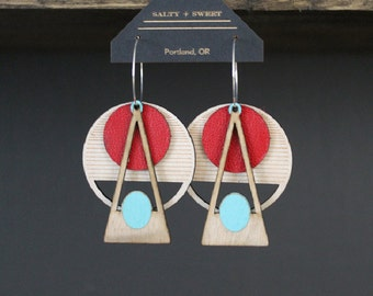 Laser cut earring | DECO: Red