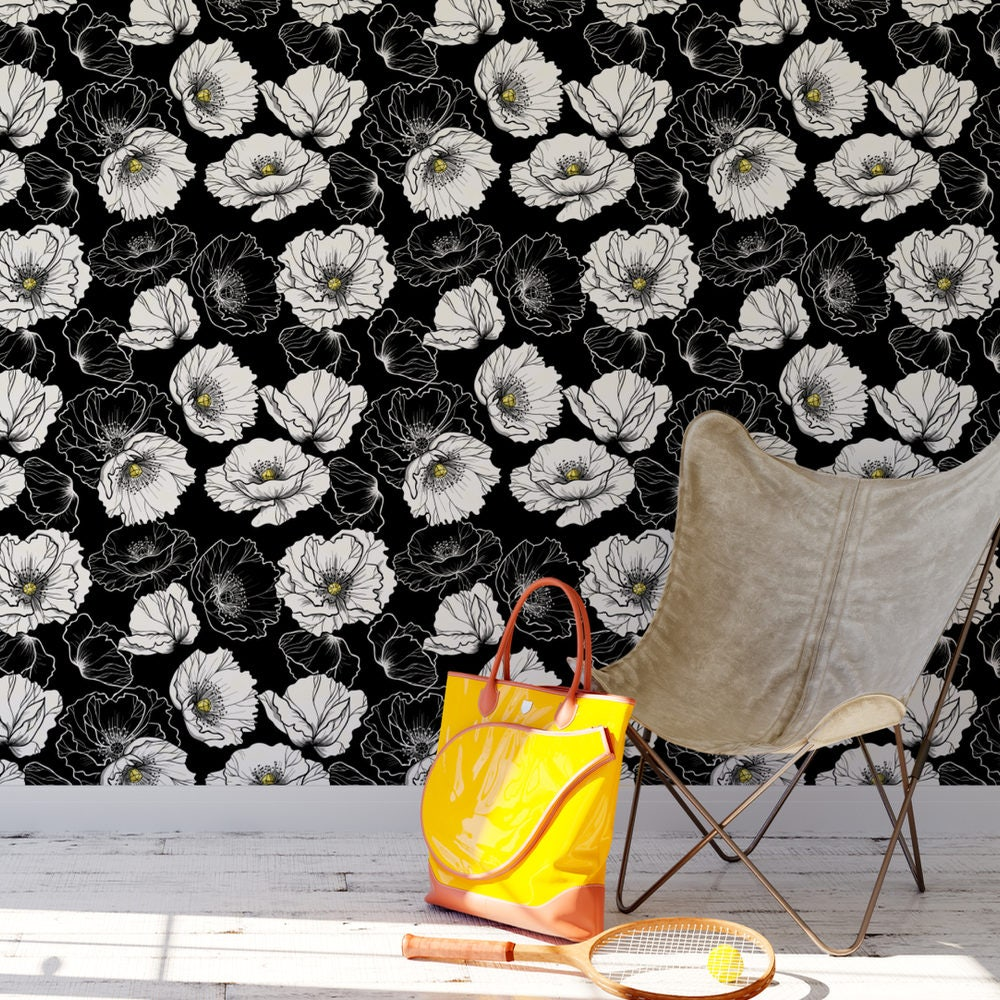 Black And White Floral Removable Wallpaper / Cute Self