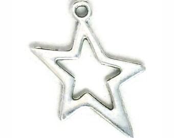 10 Cutout Silver Star Charm Pendant 24x18mm by TIJC SP1026