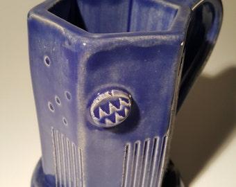 Handmade Pottery Coffee Mug, Handcrafted Art Deco Styled Extruded Hexagonal Mug, Blue Glazed Stoneware, Unique Flowing Stone Pottery Piece!!