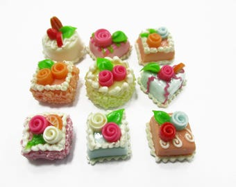Dollhouse Miniatures Food Mixed Color Flower Cake 1 cm Set 9 Cakes Supply Charms 14381