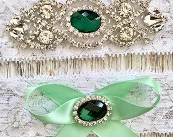 Green Bridal Garter, Green Wedding Garter, Green Rhinestone Garter, Green Crystal Garter, Lace Garter Set, Keepsake Garter, Wedding Garter
