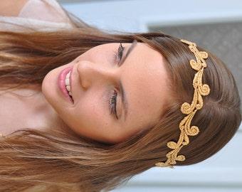 Gold Lace Headband, Gold Bridal Headband, Gold Bridal Hair Accessory, Gold Wedding hair Accessory