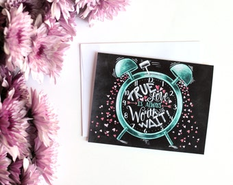 Wedding Card, Love Card, True Love, Valentines Day Card, Chalk Art, Chalkboard Art, Blackboard Art, Chalk Lettering